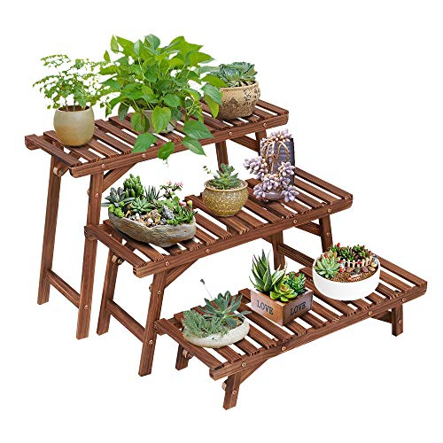 Ufine Freestanding 3 Tier Step Design Plant Stand Indoor Outdoor Wood Plant Shelf Display Rack...