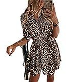 Vestido Leopardo de Mujer Vestido Camisero de Manga Larga Top Camisa Larga Elegante Mini Vestido Corto Ropa Dress de Primavera Otoño para Diario Oficina Ceremonia (Leopardo, M)