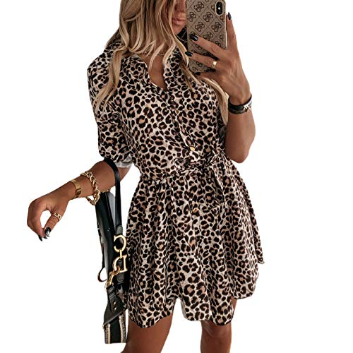 Leoparden-Kleid, Langarm-Hemd, Langarm, elegant, kurzes Mini-Kleid, Frühling, Herbst für Alltag, Büro, Zeremonie, Blusen Medium