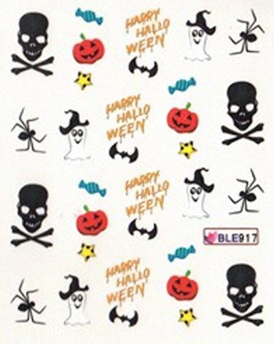 NC Nail Art manucure Stickers décalcomanie pour Ongles: Happy Halloween araignées têtes de Mort