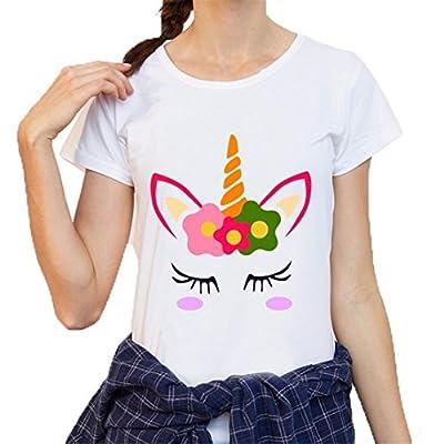 Bluestercool Ladies Hoodie Sweatshirt DAB Dance Unicorn Unicorn Cat Women Jumper Short Sleeve Top Blouse