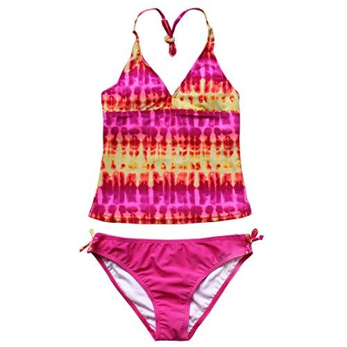 iEFiEL Ragazze Costume da Bagno Bambina Bikini a Due Pezzi Abito da Nuoto Pantaloncini Estate Top Elegante Interno Set Mare Piscina Spiaggia Swimsuit 7-16 Anni Rosa 11-12 Anni