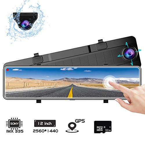 Karsuite M9 Mirror Dash Cam 2560x1440P Dash Camera for Cars 12' Touch Screen Support 170° Wide Angle,WDR Night Vision, G-Sensor,Parking Assistance, with 32GB TF Card