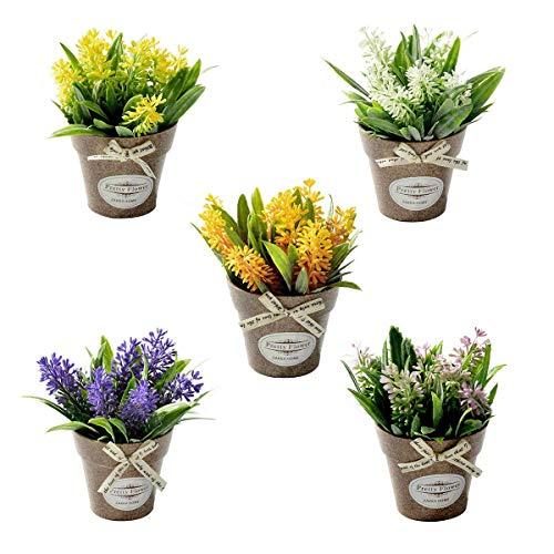 HANTURE Paquete de 5 plantas artificiales en maceta, mini plantas artificiales en maceta, arreglo de flores artificiales, plantas en maceta, bonsái falsos para decoración de oficina o granja