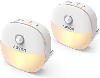 AUVON Plug-in LED Motion Sensor Night Light, Warm White LED Nightlight with Dusk to Dawn Sensor, Motion Sensor, Adjustable Brightness for Bedroom, Bathroom, Kitchen, Hallway, Stairs (2 Pack)