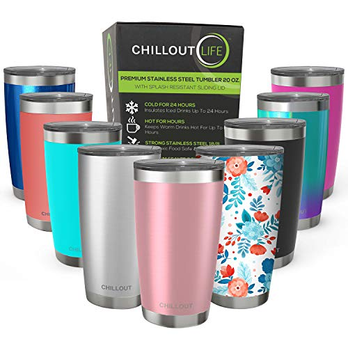CHILLOUT LIFE 20 oz Stainless Steel Tumbler with Lid & Gift Box - Double Wall Vacuum Insulated Travel Coffee Mug with Splash Proof Slid Lid - Insulated Cup for Hot & Cold Drinks, Rose Gold Tumbler