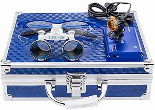 TopSeller歯科 拡大鏡 双眼ルーペ拡大鏡(3.5倍)+クリップ式LEDヘッドライト 3W 携帯便利 光学拡大鏡 光学ルーペ (3.5倍) ポータブル拡大鏡 ポータブルルーペ 虫眼鏡 軽量 フィルター付き 装着便利 収納アルミボックス付き (ブルー)