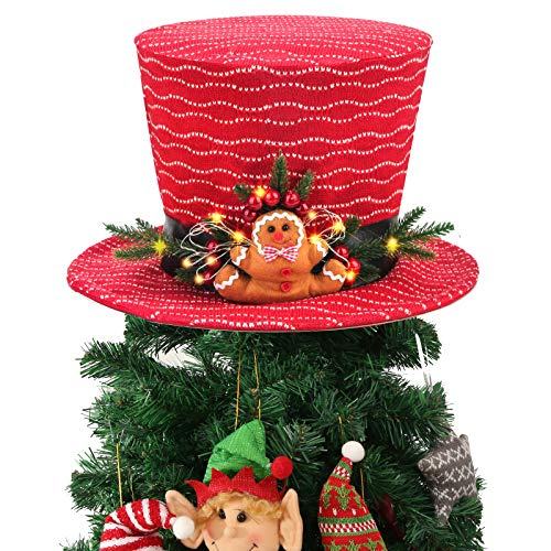Yomikoo Christmas Tree Topper, Lighted Tree Decoration Red Top Hat with Gingerbread Man Ornament for X'Mas/Holiday/Winter Wonderland Party Decoration Supplies
