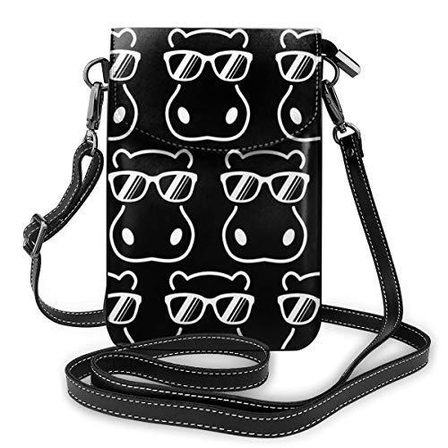 XCNGG bolso del teléfono Women Girls Small Crossbody Bag Cell Phone Purse Wallet Roomy Travel Crossbody Handbags Mini Messenger Shoulder Bag Wallet with Credit Card Slots - Hippo Hippopotamus Wearing