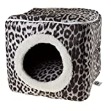 PETMAKER Cat Pet Bed Cave-Indoor Enclosed Covered Cavern/House for Cats Kittens and Small Pets with Removable Cushion Pad, Gray/Black Animal Print