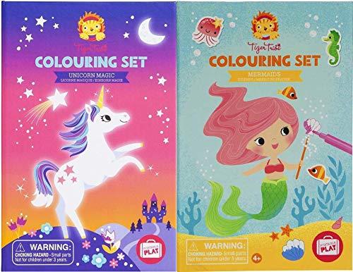 Tiger Tribe Deluxe - Set da colorare e adesivi per attività con unicorno, magia e sirene, confezione da 2