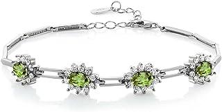 Gem Stone King 925 Sterling Silver Peridot Women's Tennis Bracelet 4.00 Carat Oval Shape Gemstone Birthstone 7 Inch with 1 Inch Extender