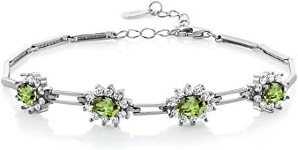 Gem Stone King 925 Sterling Silver Peridot Women's Tennis Bracelet 4.00 Carat Oval Shape Gemstone Birthstone 7 Inch with 1 Inch Extender