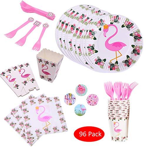 Amycute 96-Teiliges Flamingo Party-Set,Kinder Partygeschirr,Teller Becher Servietten Tischdeko,für 20 Personen Geburtstags Deko Tischdeko.
