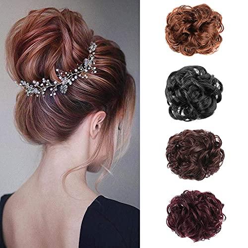 MEIRIYFA CLAW CLIP HAIR BUN EXTENSIONS MESSY CURLY UPDO HAIR BUN EXTENSIONS WAVY PONYTAIL HAIRPIECES FOR WOMEN GIRLS (DARK BROWN)