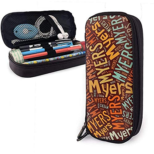 Myers - Apellido americano Estuche de cuero de alta capacidad Estuche de lápices Estuche de lápices Papelería Organizador Bolígrafo de oficina Bolso de papelería para estudiantes