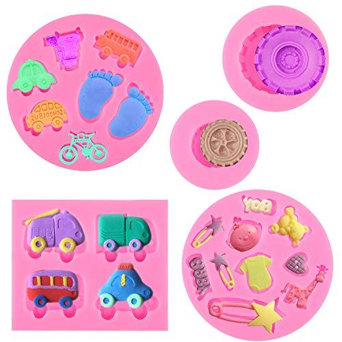 HOWAF 5pcs Baby Junge DIY Silikon Formen für Fondant Schokolade Torten Kuchen Muffin, 3D Baby Silikonform Set für Junge Babyparty Taufe Kindergeburtstag, Auto Giraffe Baby Füße Silikonform Fondant
