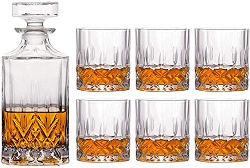 Jarra de whisky 7 piezas de whisky Decanter Set - 800 ml Decanter y 6 gafas de whisky (300 ml) Diseño cuadrado Decantador de vino Decoración de la oficina Regalo para hombres y mujeres Regalo de whisk