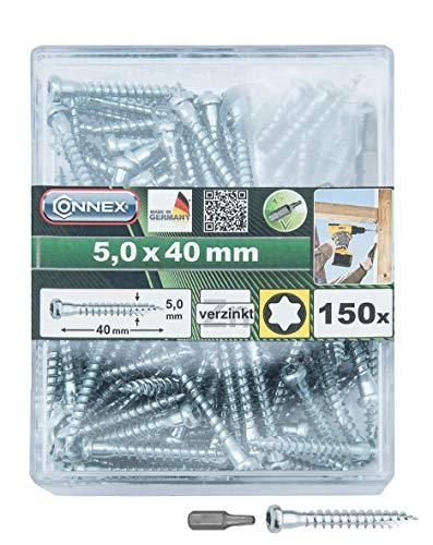 Connex Holzverbinderschrauben 5,0 x 40 mm - 150 Stück - TX Torx-Antrieb - Mit Unterkopfverstärkung - Verzinkt - Inkl. Bit - Made in Germany / Winkelbeschlagsschrauben / Schrauben-Box / HV4550
