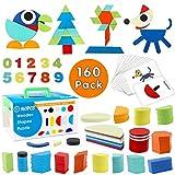Tangram de Madera swonuk 160 Piezas Rompecabezas de Madera + 60 PCS Diseño Tarjetas de Apilamientos Niños Montessori Juguetes Educativos Clasificación de la Infancia