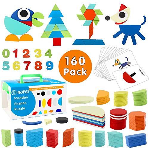 StillCool Tangram de Madera, 160 PZS Puzzle Juguete Infantil de Montessori Educativo y Inteligencia de Desarrollo con Caja Almacenamiento y 60 Tarjeta para Niños Mayores de 2 Años - Colores