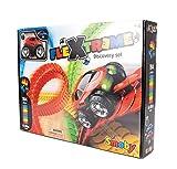 Smoby - FleXtreme - Set Découverte - 4m40 de Circuit de Voiture - 184 Pistes Flexibles et Modulables + 1 Véhicule Effets Lumineux - Piles Incluses - 180902