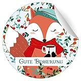 24 süße Genesungs Aufkleber mit kleinem Fuchs und Tasse Tee, MATTE Papier Sticker für Geschenke,...