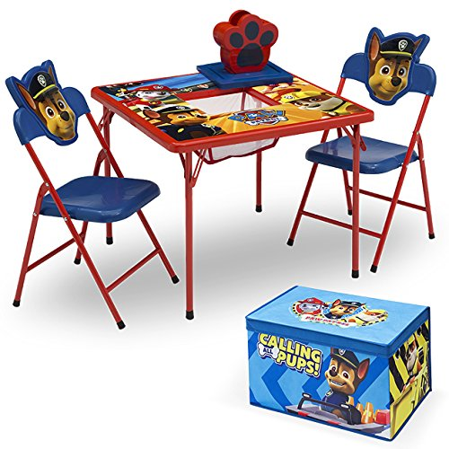 Delta Children 4-Piece Kids Furniture Set (Storage Table with 2 Chairs & Fabric Toy Box) - Ideal for Arts & Crafts, Snack Time, Homeschooling, Homework & More,Nick Jr. PAW Patrol