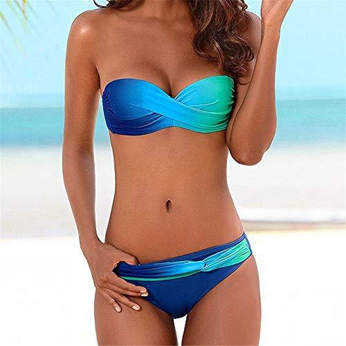 Traje de baño de Ropa de Playa para Mujer Mujeres Bikini 2 Pieza Natación Traje de baño Secado rápido Traje de baño (Color : Blue, Size : X-L)