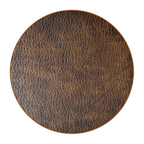 Juego de 6 posavasos de diseño único para posavasos de mesa con parte trasera antideslizante, juego de regalo de piel, color marrón