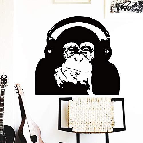 Wandaufkleber Design Thinking Monkey mit Kopfhörer AFFE Home Decoration Vinyl Caesar Musik Aufstieg des Planeten der Affen Orang-Utan Poster Wandbild