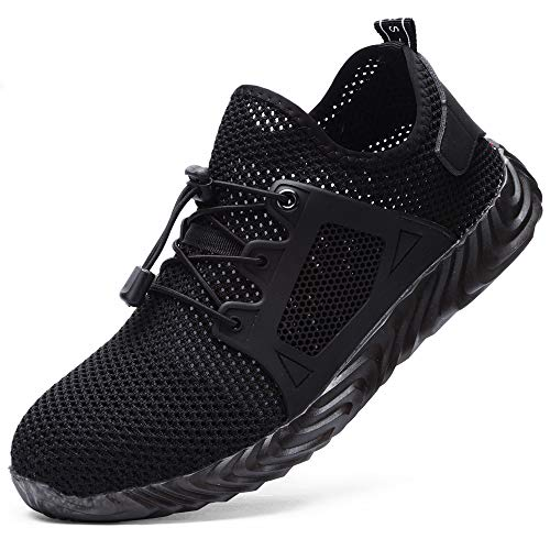 MDDYF Steel Toe Shoes Work Women Safety Shoes Womens Indestructible Lightweight Sneakers NonSlip Breathable Shoe C58975 Women Black