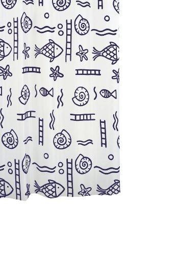 RIDDER 46113-350 Duschvorhang Textil ca. 120 x 200 cm, Neptun blau inklusive Ringe
