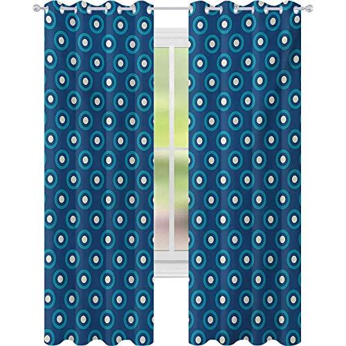 Cortinas de dormitorio, Círculos con Lunares Blancos Ancestral Folk Evil Eye Style Tile, W52 x L108 Cortinas para el cuarto del bebé, azul oscuro verde azulado blanco