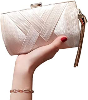 Women Hand Made Envelope Clutch Bag Evening Purse Handbag Line Design Elegant Rose Gold for Wedding and Party(FM),White
