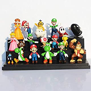 Romantic-Z 18 Unids / Lote Super Mario Bros Yoshi Dinosaurio Sapo Melocotón Goomba PVC Figuras de Acción de Juguete