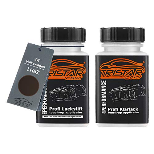 TRISTARcolor Autolack Lackstift Set für VW/Volkswagen LH8Z Toffee Braun Metallic/Toffee/Graciosabraun Metallic Basislack Klarlack je 50ml