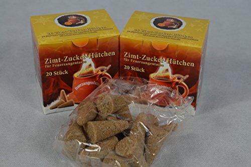 40 Stück (2X20) Zimt-Zuckerhütchen a 8g Zuckerhut Zucker Zimt für Feuerzangentasse Weihnachten Feuerzangenbowle Geburtstag Sylvester