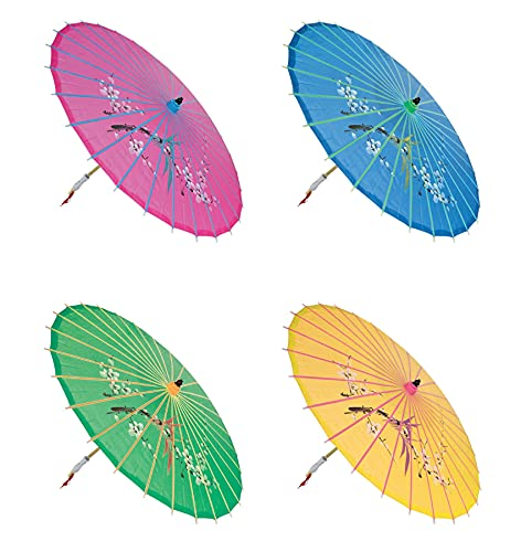 'Assortment or six (6) 30'' Large Asian Silk Umbrella/Parasol'