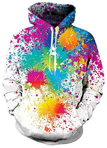 SunFocus 3D Hoodies für Männer Cool Print Hoody Pullover Langarm Langes buntes Sweatshirt für den täglichen Gebrauch XL