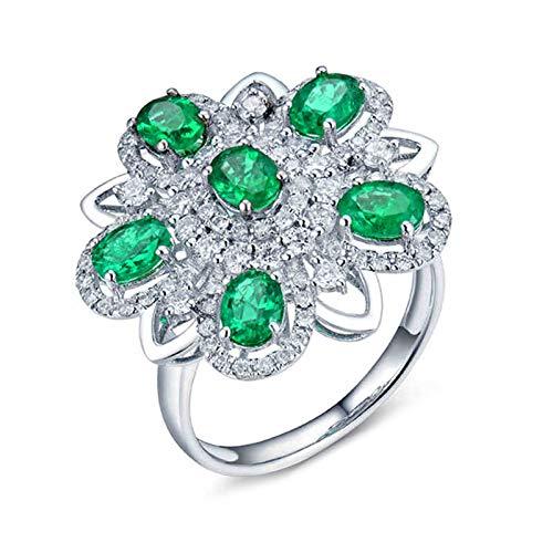 AnazoZ Anillo de Compromiso Mujer Esmeralda,Anillo Solitario Mujer Oro Blanco 18K Plata Verde Flor con Oval Esmeralda Verde 1.51ct Diamante 0.8ct Talla 6,75