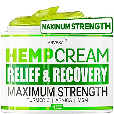 Hemp P??n R?lief Cream - 1,000,000 - Made in USA - 4OZ - R?lieves Muscle, Joint P??n - Lower Back P??n - Hemp Oil Extract with MSM - EMU Oil - Arnica - Turmeric from Arvesa