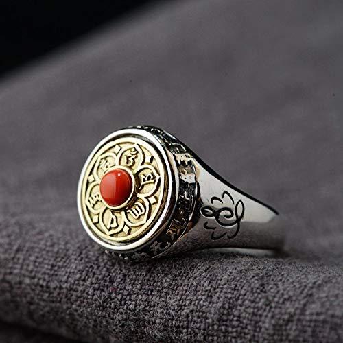 Vintage S 925 Silber Ring Frauen Männer Buddhistischen Sechs Zeichen Mantra Gedreht Werden Kann Fashion Kreative Geschenk Persönlichkeit Trend Temperament Elegante