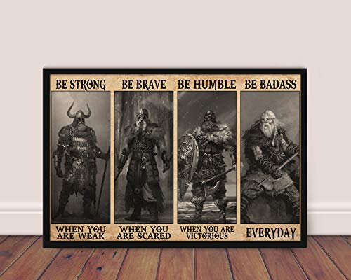 Cupbacup Viking Norse Mythology Poster Be Strong When You are Weak Poster Wall Art Print Home Living Decor Poster