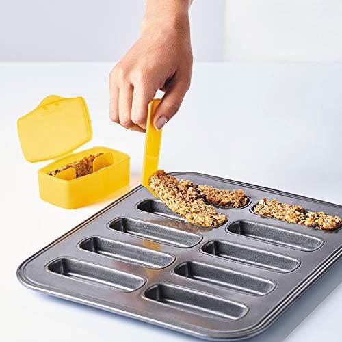 mastrad F40860 Kit de Barres de céréales-Moule 10 cavités + tasseur avec Une Languette + 2 boîtes de Transport + Recette-Anti-adhésif-Pratique & Sain-Homemade, Acier, Gris, 26,3 x 35,5 x 6 cm