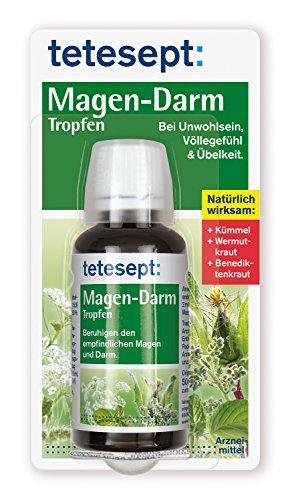 tetesept Magen-Darm Tropfen - natürlich wirksam – Pflanzliches Arzneimittel zur Anwendung bei Unwohlsein, Völlegefühl & Übelkeit - beruhigt den Magen-Darm-Trakt – 1 x 50 ml