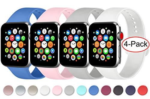 AK 4 Pezzi Cinturino para Apple Watch Cinturini 44 mm 38 mm 42 mm 40 mm, Cinturino in Silicone Morbido con Apple Watch Series 5 4 3 2 1 (06Azzurro Reale/Rosa/Grigio/Bianco, 38mm/40mm-S/M)