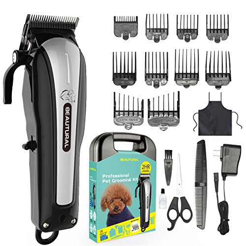 Beautural Professional Cordless Pet Grooming Clipper Kit, Low Noise Rechargeable Dog and Cat Hair...