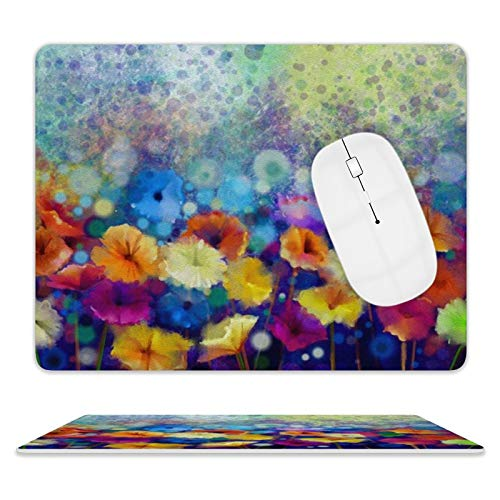 Leather Mouse Pad for Computers & PC Washable 8'10' Mouse Mat Rubber Base Waterproof Mouse Pads (Abstract Floral Watercolor Daisy Gerbera Flowers)