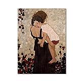 JRLDMD Cuadro Abstracto en Lienzo, Famosa Madre e Hijo de Gustav Klimt, póster e impresión, Cuadros artísticos de Pared para decoración de Sala de Estar, Cuadros de cuadros-30x40cm x1 Sin Marco
